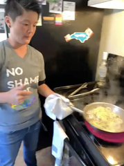 J Chong leading a virtual cooking tutorial.