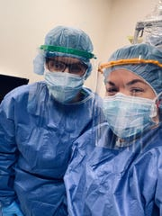 Amanda Lancheros and Becky Enright are nurses at Harrison Medical Center who have arranged to have their shifts covered at home so that they can work the graveyard at Lincoln Medical Center in the Bronx, one of the hardest-hit areas of the coronavirus pandemic.