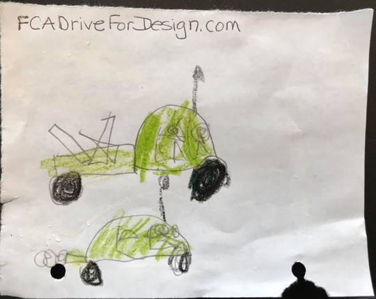 A Dodge Ram truck design by 5-year-old Tristan Budny. The drawing contest is an expansion of Drive for Design, a contest FCA has sponsored eight years to promote automotive design among high school students.