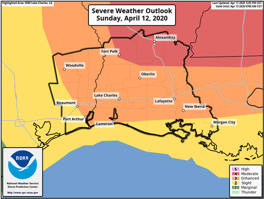 Lafayette and other Acadiana parishes are expected to experience severe weather Sunday, including possible tornadoes, hail and lightening, according to the National Weather Service.