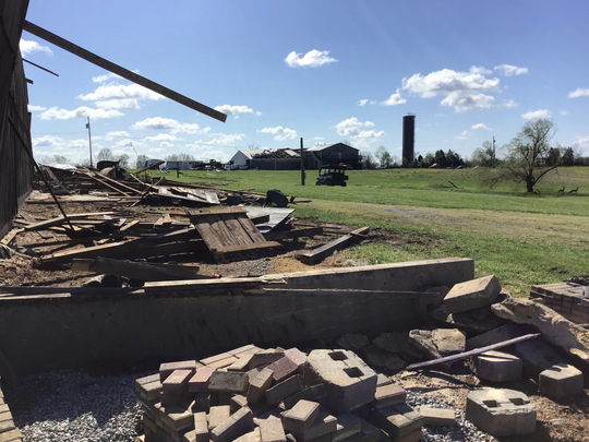 An EF-1 tornado on Wednesday, April 8, 2020, caused damage to a barn off Murray Run Road in Nelson County, Kentucky.
