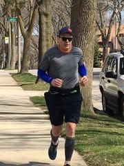 Greg Borowski of the Journal Sentinel about halfway through his solo marathon on Saturday.