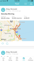 An image of Greg Borowski's Runkeeper app showing his distance, route and time as he ran a solo marathon Saturday.