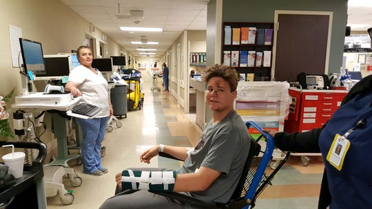 Holtville midfielder Miles Broom recovers from April 1, 2018 four-wheeler crash that ruptured his spleen, fracture his vertebrae and wrist.