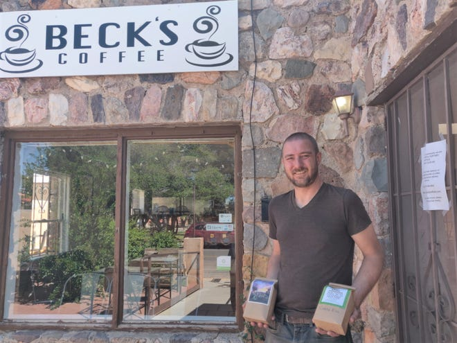 Tyrell Thacker, co-owner of Beck's Coffee, uses social media and a sign on the door to let customers know they will deliver coffee to your door during the COVID-19 crisis. Businesses needing help to pay utility bills can call Customer Central at 575-541-2111.