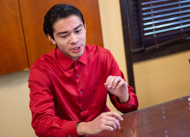 Ricardo Vasquez, the first Gates Scholarship recipient at New Mexico State University, talks about his collegiate experiences during an interview in early March at the NMSU Honors College.