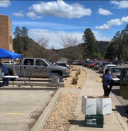 To ensure safety for all who attended, food boxes were distributed curbside. In less than two hours the ministry boxed and served about 7000 pounds of groceries to those in need.