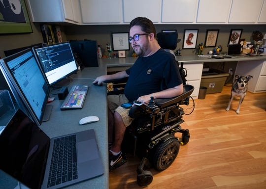 Gabe Trujillo, a content producer for 12News, works from home during the COVID-19 outbreak. Trujillo became disabled after a severe asthma attack when he was 14 years old. He is considered high risk for the Corona virus and worries that people with disabilities might not have the same access to medical care.