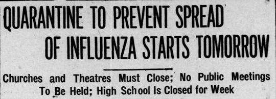 The October 11, 1918 headline from the Reno Evening Gazette.