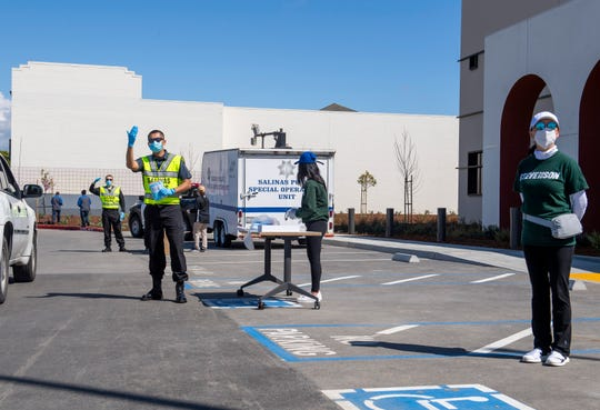 Stevenson School parents teamed up with the Salinas Police Department to distribute 5,000 face masks for Salinas residents. The distribution took place in front of the new police station on 312 E. Alisal St. on Friday, April 10, 2020.