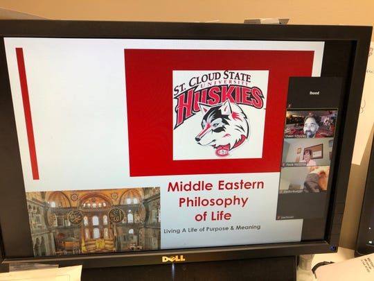 Shawn Schooley, St. Cloud State University associate professor of political science, gives an online lecture to members of the Whitney Senior Center on April 2, 2020.