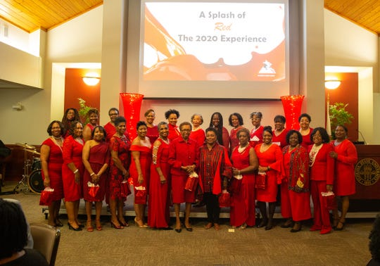 Golden sorors chapter members at the A Splash of Red: The 2020 Experience scholarship gala reception.