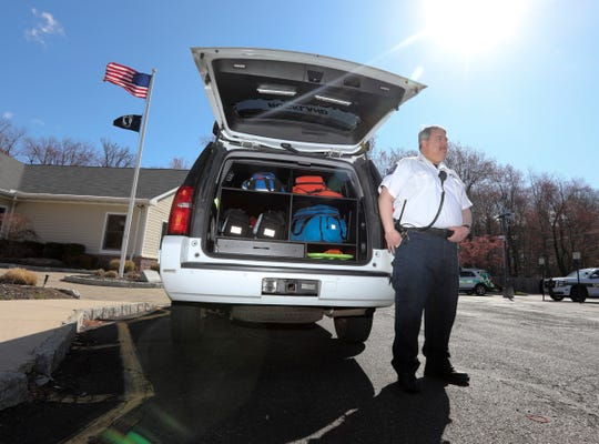 Paramedic Joel Hirshfield photographed at Spring Hill Ambulance Corps in New Hempstead on Saturday, April 11, 2020.