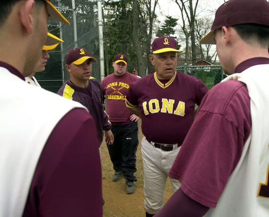 Iona Prep Coach Fred Gallo talks to his team during the game against St. Francis at Iona Prep April 17, 2004. ( Ricky Flores / The Journal News ) dp