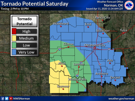There is a medium potential of tornadoes this afternoon and evening across far southwest Oklahoma and western north Texas, with a low potential across west central and southwestern Oklahoma and western north Texas with a very low covering much of the remainder of the area.