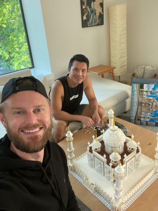 Bobby Berk and husband Dewey Do enjoy building with Legos after dinner.