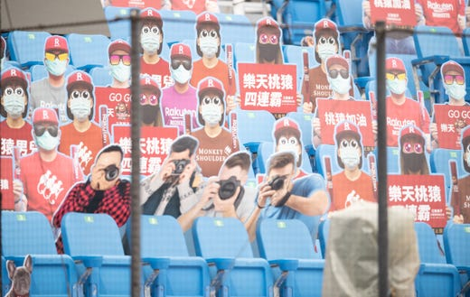 Cardboard cutouts of fans prior to the CPBL season opening game between Rakuten Monkeys and CTBC Brothers at Taoyuan International Baseball Stadium on April 11, 2020 in Taoyuan, Taiwan. The fixyure will be played behind closed doors, without fans due to the Coronavirus (COVID-19) global pandemic.