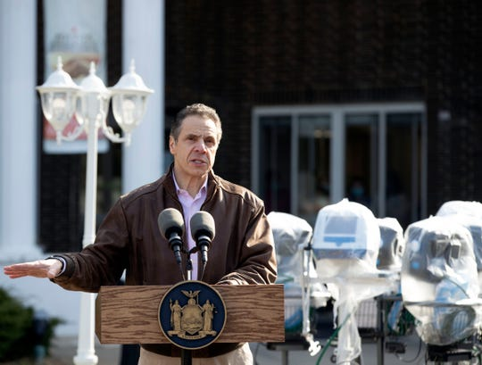 Gov. Andrew Cuomo makes an announcement at Pathways Nursing and Rehabilitation Center in Niskayuna on April 12, 2020, saying the nursing home outside Albany, wanted to loan 35 ventilators to downstate hospitals due to the coronavirus pandemic.