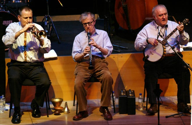 Eddy Davis, right, performs with director Woody Allen, center, and Simon Wettenhall during 2005 Eddy Davis New Orleans Jazz Band concert in Athens, Greece.