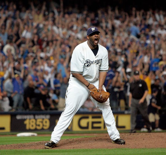 Milwaukee Brewers' CC Sabathia reacts after the final out was made clinching a wild card spot for the Milwaukee Brewers at Miller Park Sunday, September 28, 2008.
