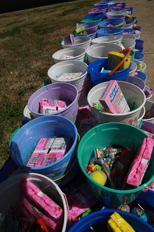 Anstaff Bank provided Easter baskets for children in line at the Mountain Home Cares event on Friday.