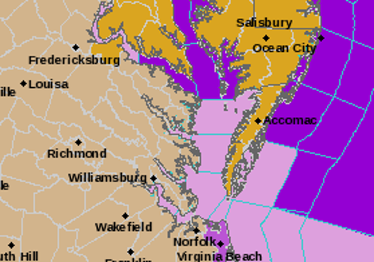 The National Weather Service has issued high wind warnings for much of Delmarva for April 13 . South winds from 25 to 35 mph, with gusts up to 60 mph, are expected on the Eastern Shore.