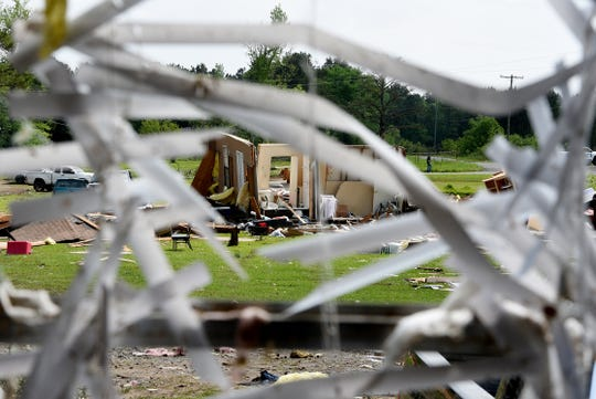 Homes destroyed in the storm Sunday morning in the Kingston-Frierson area of DeSoto Parish.