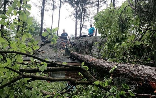 A Webster Parish home was damaged by storms on Easter Sunday, April 12, 2020.
