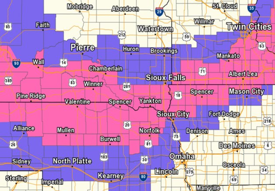 Winter storm warnings for areas in pink and winter weather advisory for areas in purple.