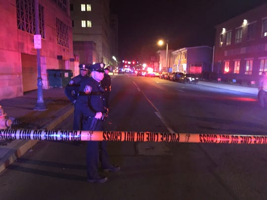Police activity at the scene of a shooting on 11th and Walnut streets in Wilmington.