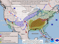 Monday's weather forecast predicts rain and thunderstorms in the Mid-Atlantic.