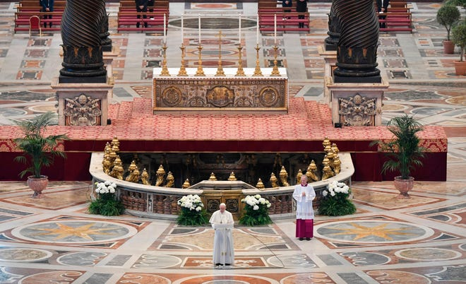 Pope Francis delivers his Urbi et Orbi message following Easter Sunday Mass on April 12, 2020 at St. Peter's Basilica in The Vatican, during the country's lockdown aimed at curbing the spread of the coronavirus infection.