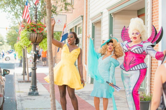 "Bob The Drag Queen, from left, Shangela Laquifa Wadley and Eureka O'Hara in a scene from the HBO series ""We're Here."""