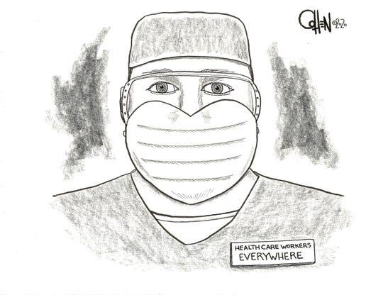 """Heart Mask"" Cohen cartoon April 5"