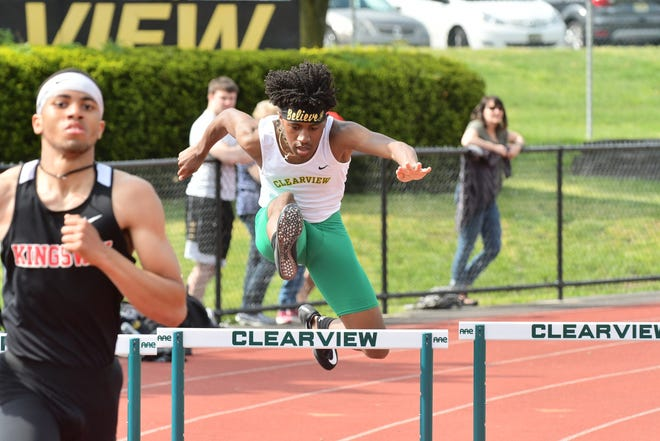Clearview's Zion Fearon competes in the hurdles.