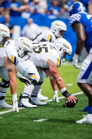 Toledo center Luke Doerger (65) sets during a college football game between the Toledo Rockets and the Kentucky Wildcats on August 31, 2019, at Kroger Field in Lexington, KY. (Photo by Mat Gdowski/Icon Sportswire via Getty Images)