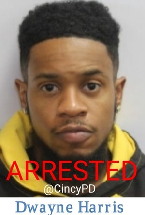 Cincinnati police arrested Dwayne Harris, 27, Monday, April 13, 2020, on murder charges. He is accused of shooting and killing Jasmine Malone and Jeffrey Duke II, according to court records.