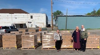 The delivery of the donated food was accompanied by Elder Frank and Sister Ginny Judd, full-time missionaries, and Sister Candy Austin, Communication Director for the Church in the Northern Middle TN and Southern KY area.