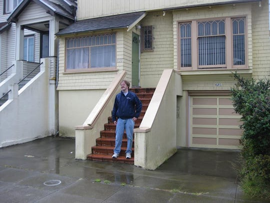 Staff writer Brad Wadlow outside 625 Morse St. in San Francisco, where Patricia Hearst was arrested on Sept. 18, 1975, for her participation in The Hibernia Bank robbery on April 15, 1974.
