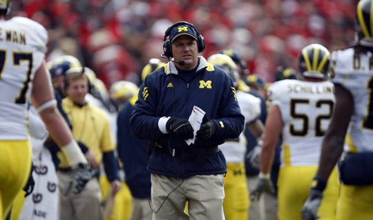 Michigan football coach Rich Rodriguez looks on against Ohio State, Saturday, Nov. 27, 2010 in Columbus. Michigan lost to Ohio State, 37-30.