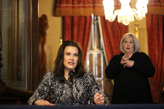 Governor Gretchen Whitmer gives an update on COVID-19 during a press conference on April 13, 2020.