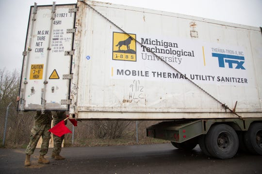 Engineers and professors at Michigan Tech in the UP spent a week improvising a giant sanitizer to fight COVID-19. It is a 40-foot shipping container converted literally into an oven, using everyday materials to show how this could be done anywhere on the cheap. The National Guard hauled this 8-ton container to their armory in Taylor.