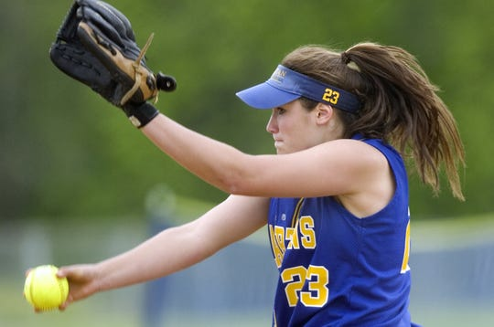 Maine-Endwell's Nicole Osovski pitches in the Section 4 Class A softball tournament against Oneonta in 2008.
