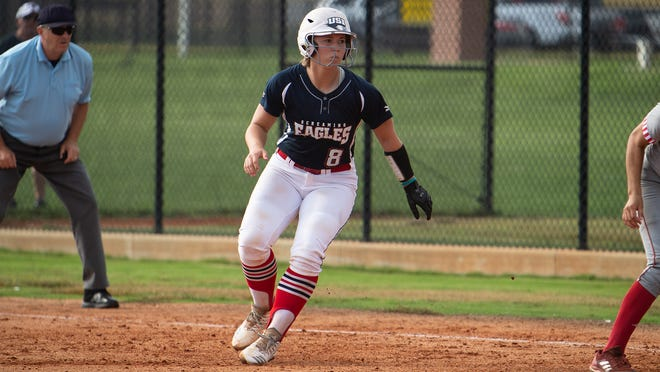 USI softball player Courtney Schoolcraft leads off of first base during an earlier game.