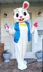 The Brain Injury Adventure Camp's Easter Bunny delivers sanitized eggs, and carries a can of spray disinfectant just in case it's needed.