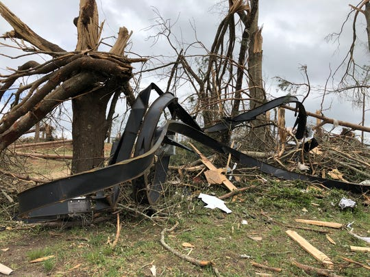 The sheer force of one of several Easter 2020 tornadoes ripped off the steel frame of a home in Lawrence County and twisted it like a piece of licorice.