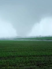 The Mississippi Emergency Management Agency shared this photo of a tornado spotted in Yazoo County between Holly Bluff and Yazoo City on Sunday, April 12, 2020.