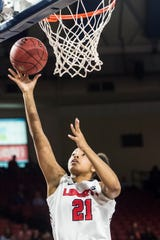 Keyen Green of Liberty goes up for a shot during the second half against High Point University during the semifinals of the Big South Championship on  March 10, 2018, in Lynchburg, Va.