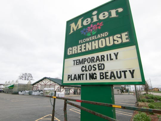 Meier Flowerland Greenhouse in Brighton Township, shown Monday, April 13, 2020, remains closed due to the coronavirus.