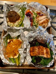 Takeout from Napa Cafe in East Memphis comes on foil for easy re-heating.